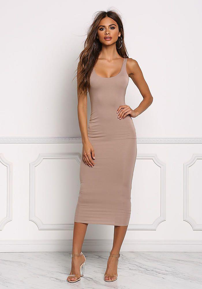 Mocha Midi Bodycon Dress - Dresses