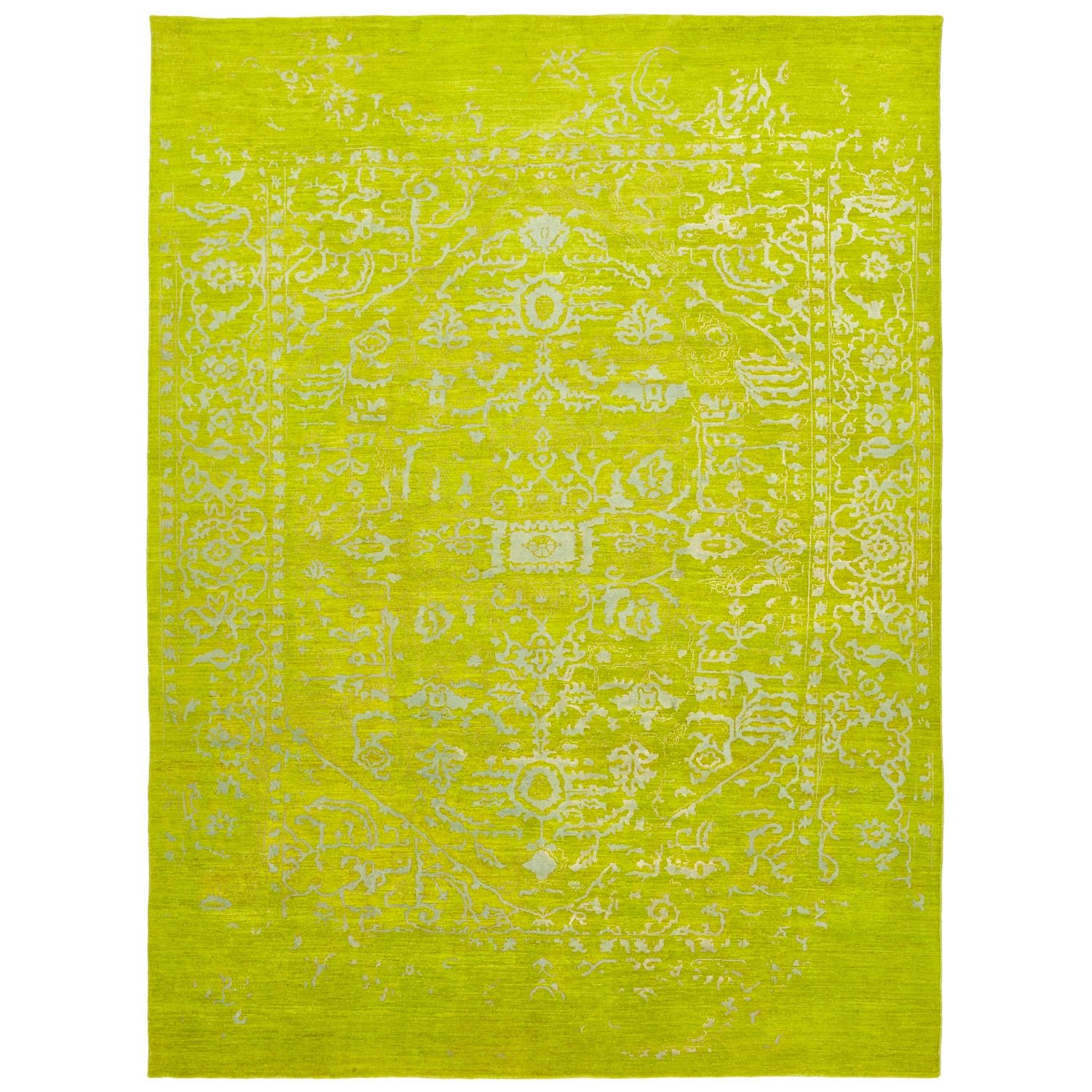 Traditional motifs are emphasized on the saturated chartreuse field