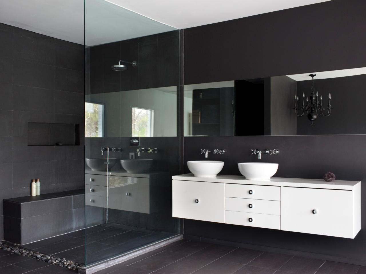 To Make His Master Bathroom Feel Slightly Larger In Space Keith Repurposed An Ikea Media Cabinet Into A Small Bathroom Modern Master Bathroom Elegant Bathroom