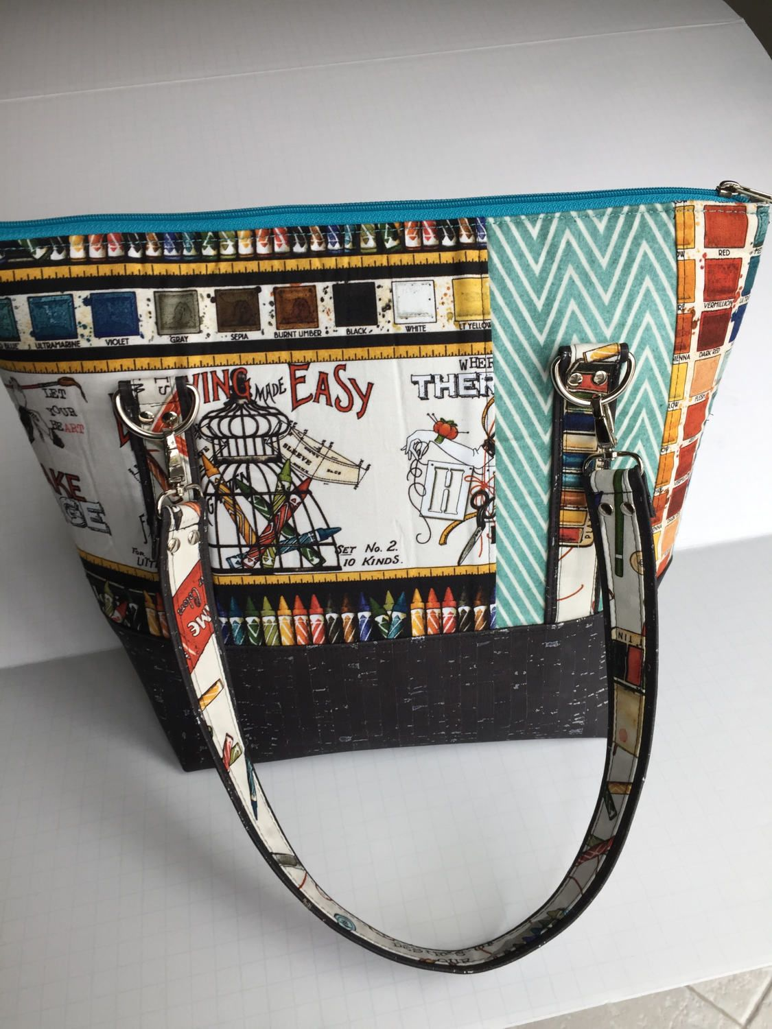 Classic Carry All Tote, J Wecker Frisch, She Who Draws Near, Shoulder Bag, Art Palette, Cotton and Cork (sustainable) by JazzyJoDesigns on Etsy
