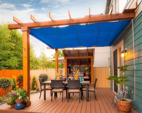 Terrasse Holz Gartenzaun Holz überdachung Sonnenschutz Essmöbel