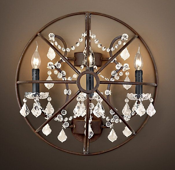 Bathroom Chandelier Sconces rustic beach handles | foucault's iron orb crystal sconce rustic