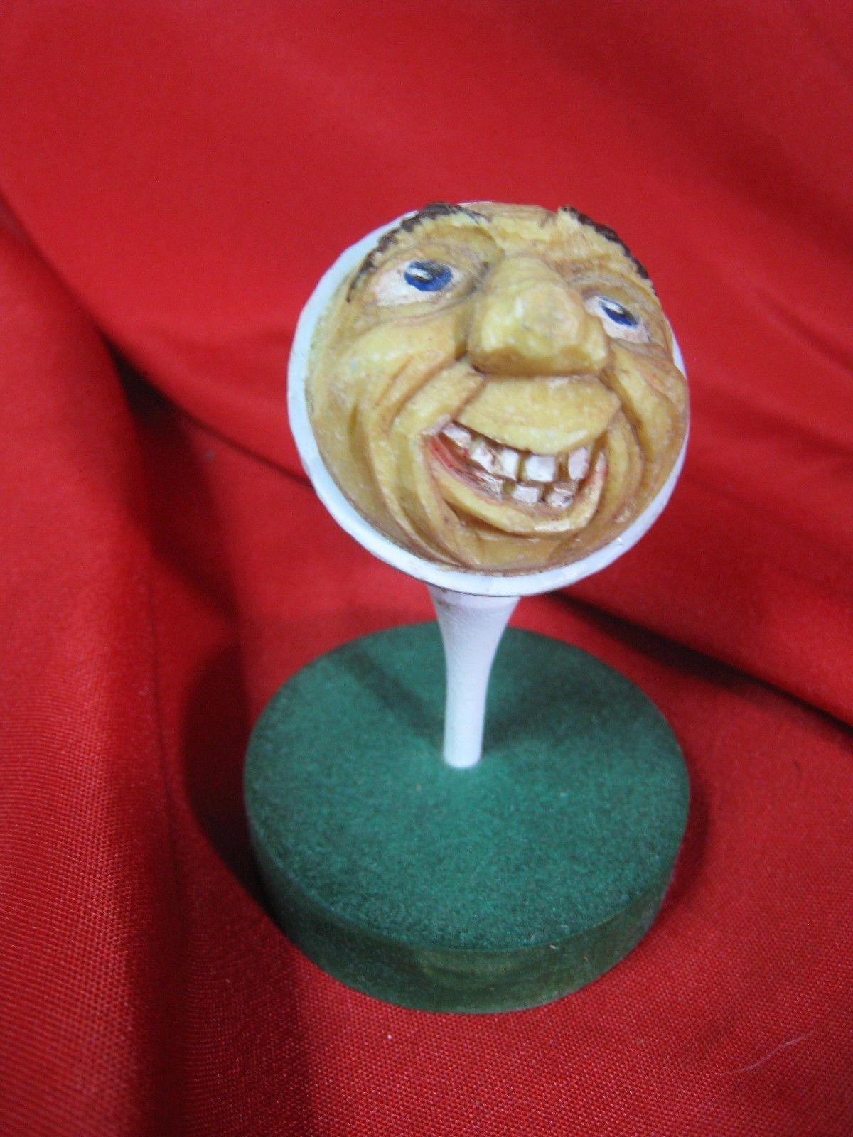 Art Rare Hand Carved Golf Ball Face