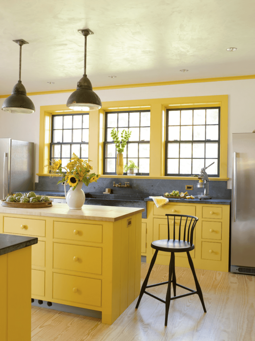 Bright Yellow Kitchen Cabinets