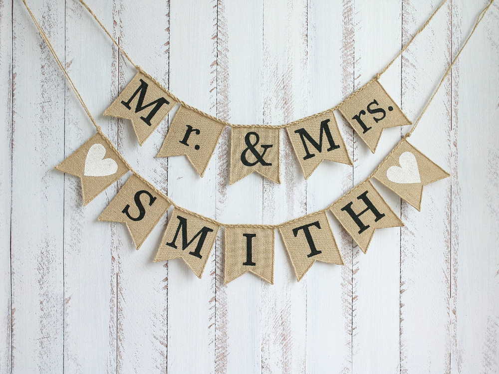 MR & MRS Banner, Mr and Mrs Sign, Mr and Mrs Garland