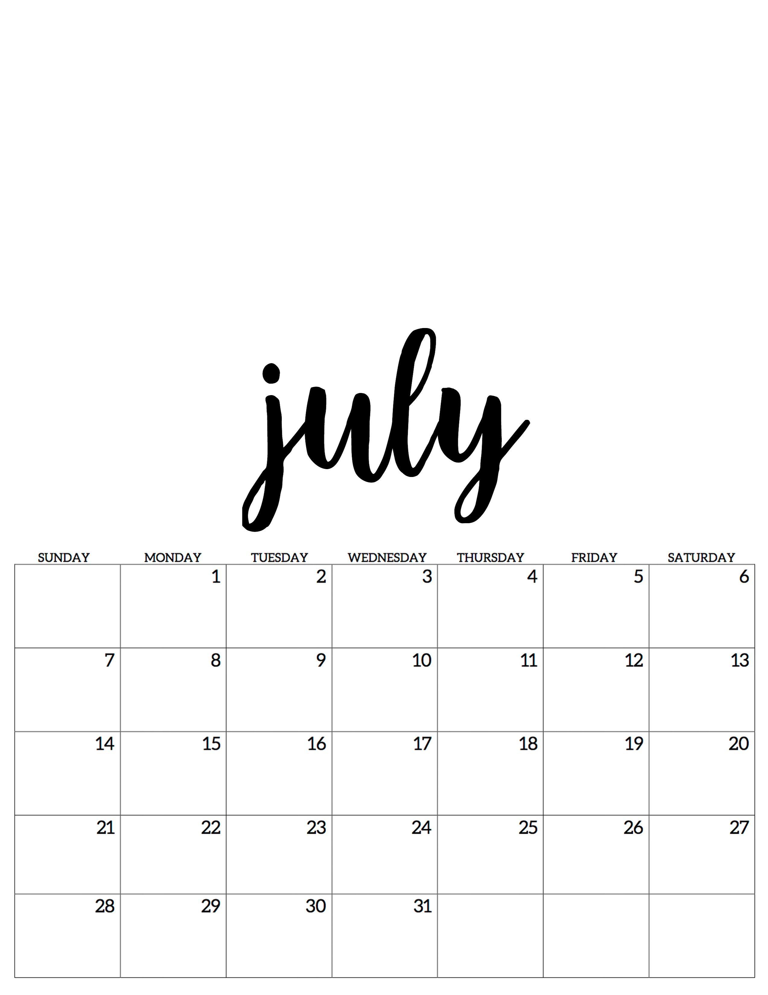 july juli kalender calendar 2019 | Juli kalender, 2019 ...