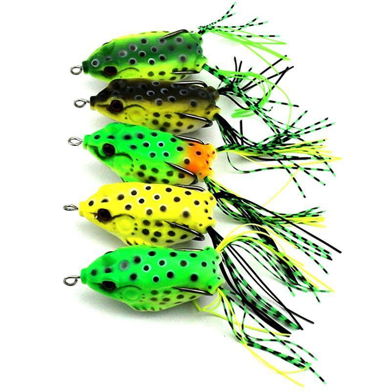 1 pz Nuovo Morbido Rana Lure Basso di Pesca Doppi Ganci Bait Crankbaits fishing Tackle Topwater Accessori Ingranaggi 5 colori YE-193