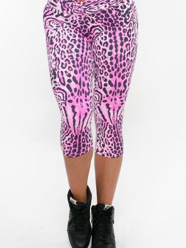 Up Vibe Srunchy Pink Leopard Capris