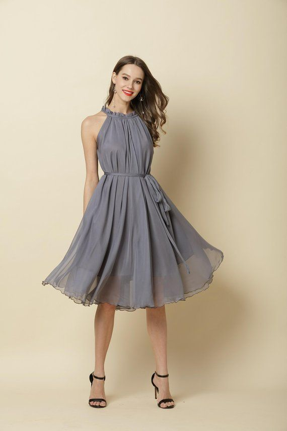 01355341722 90 Colors Chiffon Grey Knee Party Dress Evening Wedding Maternity Dress  Sundress Summer Holiday Beac