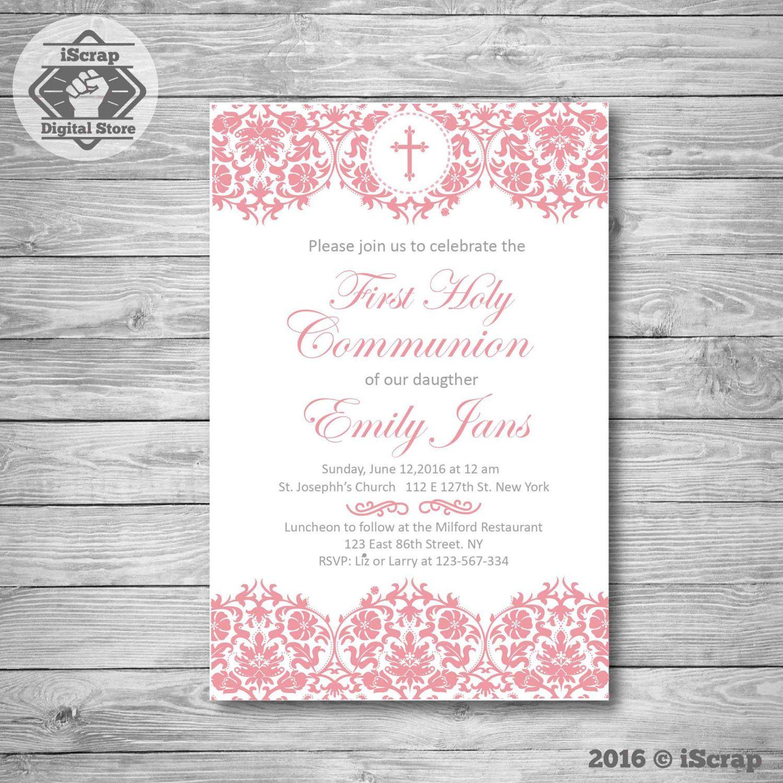 Primera comunin invitacin invitar comunin bautizo invitacin