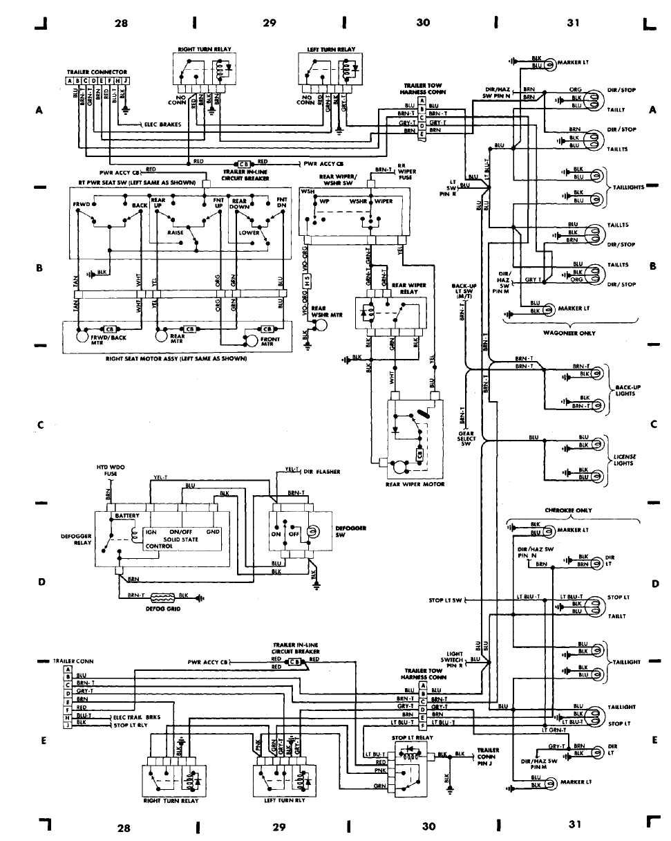 87 jeep cherokee wiring diagram on lights
