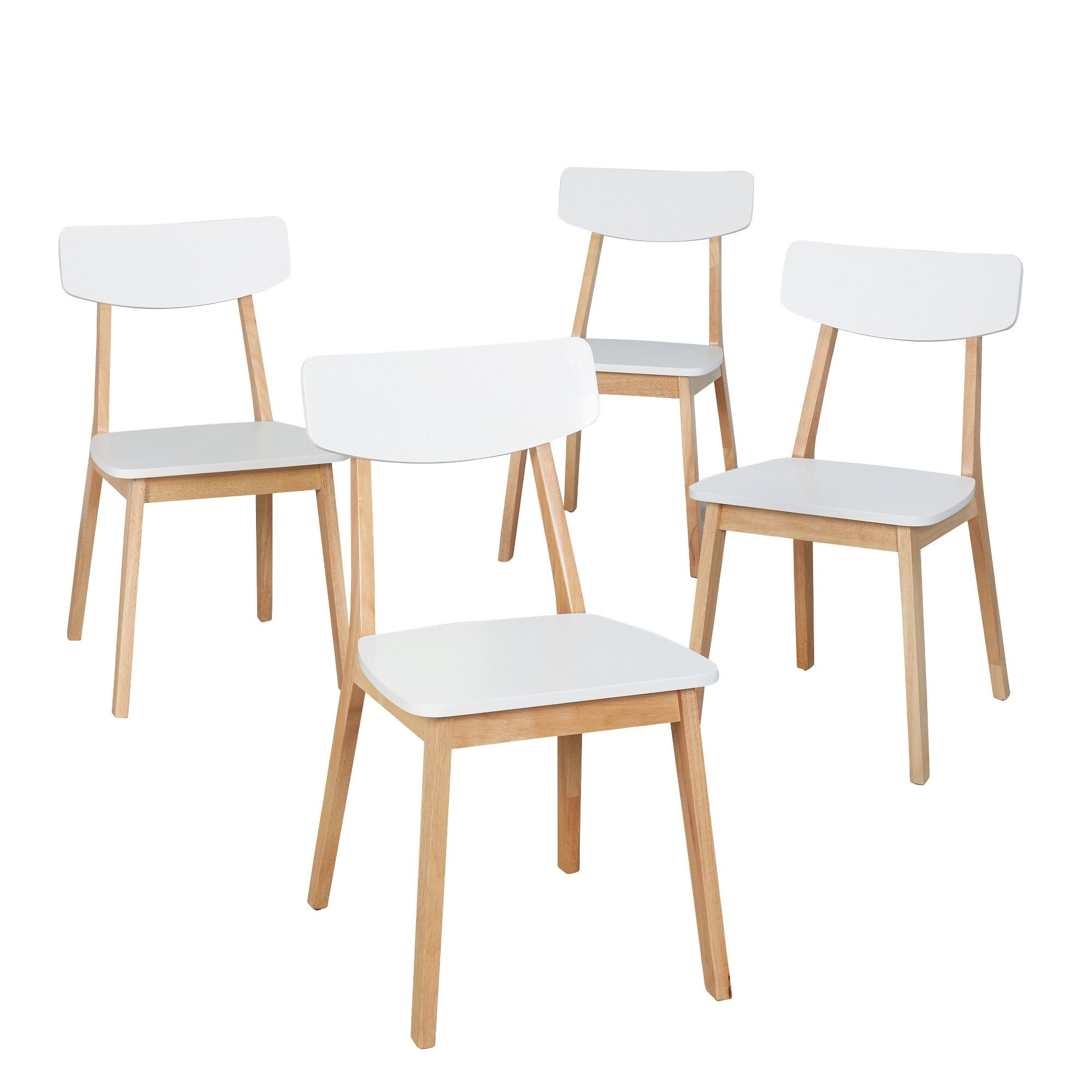 Perla Dining Chair Set Of 4 White Natural Buylateral Dining Chairs Solid Wood Dining Chairs Dining Chair Set Dining chair set of 4