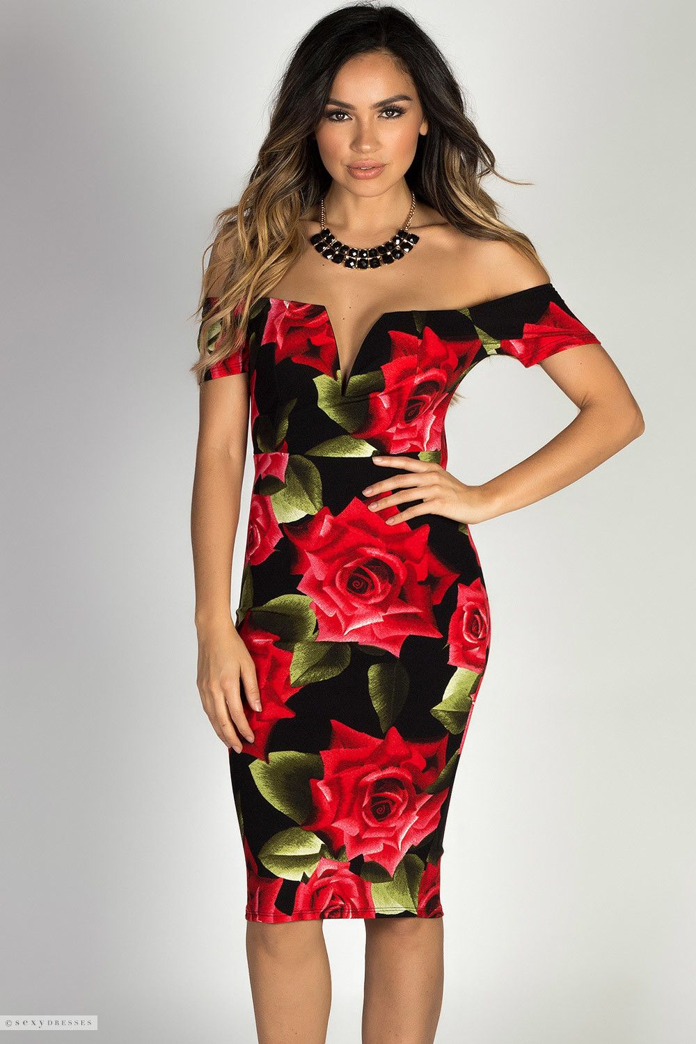 f07905a53d5 Short Sleeve Black   Red Rose Floral Print Sexy Off Shoulder Midi Dress