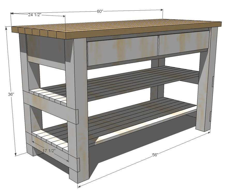 Plans for a Kitchen Island w/ 2 shelves  2 drawers Site has