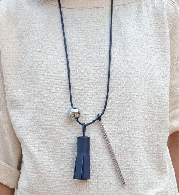 Building Block Navy Tassel & Pen Necklace