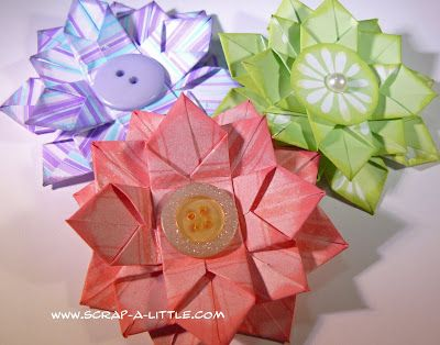 Scrap a little origami flower tutorial easter spring pinterest scrap a little origami flower tutorial mightylinksfo