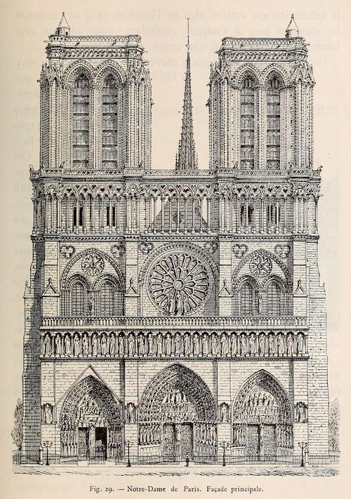 Technical Drawing Front Elevation : Front elevation of notre dame cathedral paris pinterest