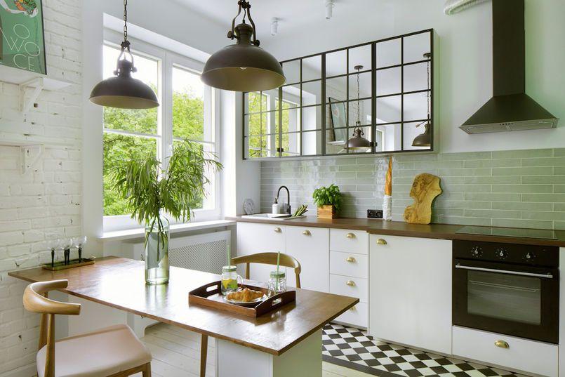 Lustrzane Szafki W Kuchni Kitchen Interior Mirrored Kitchen Cabinet Tiny Kitchen