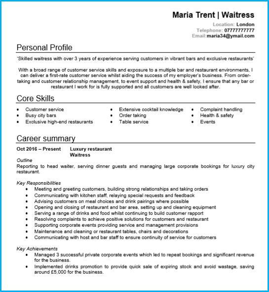 Waiter Waitress Cv Example Page 1 Good Cv Cv Examples Good Resume Examples