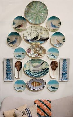 John Derian booth at the 2009 NY Gift Show, what a nice way to display plates