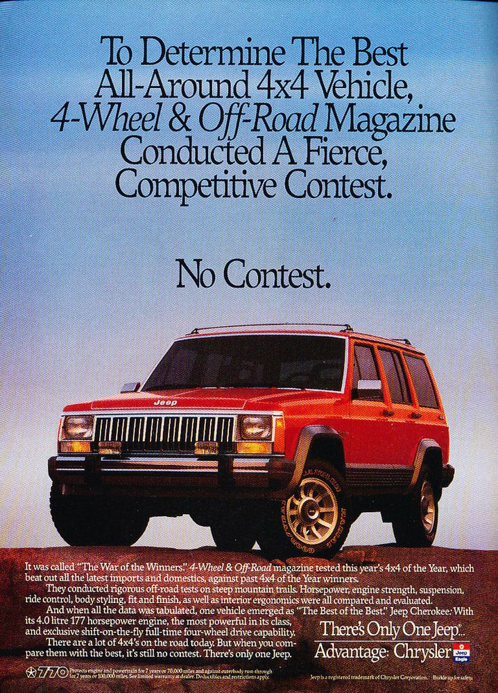"Used Jeep Wrangler Prices >> 1990 #Jeep #Cherokee ""No Contest"" Advertisement. | Jeep ..."