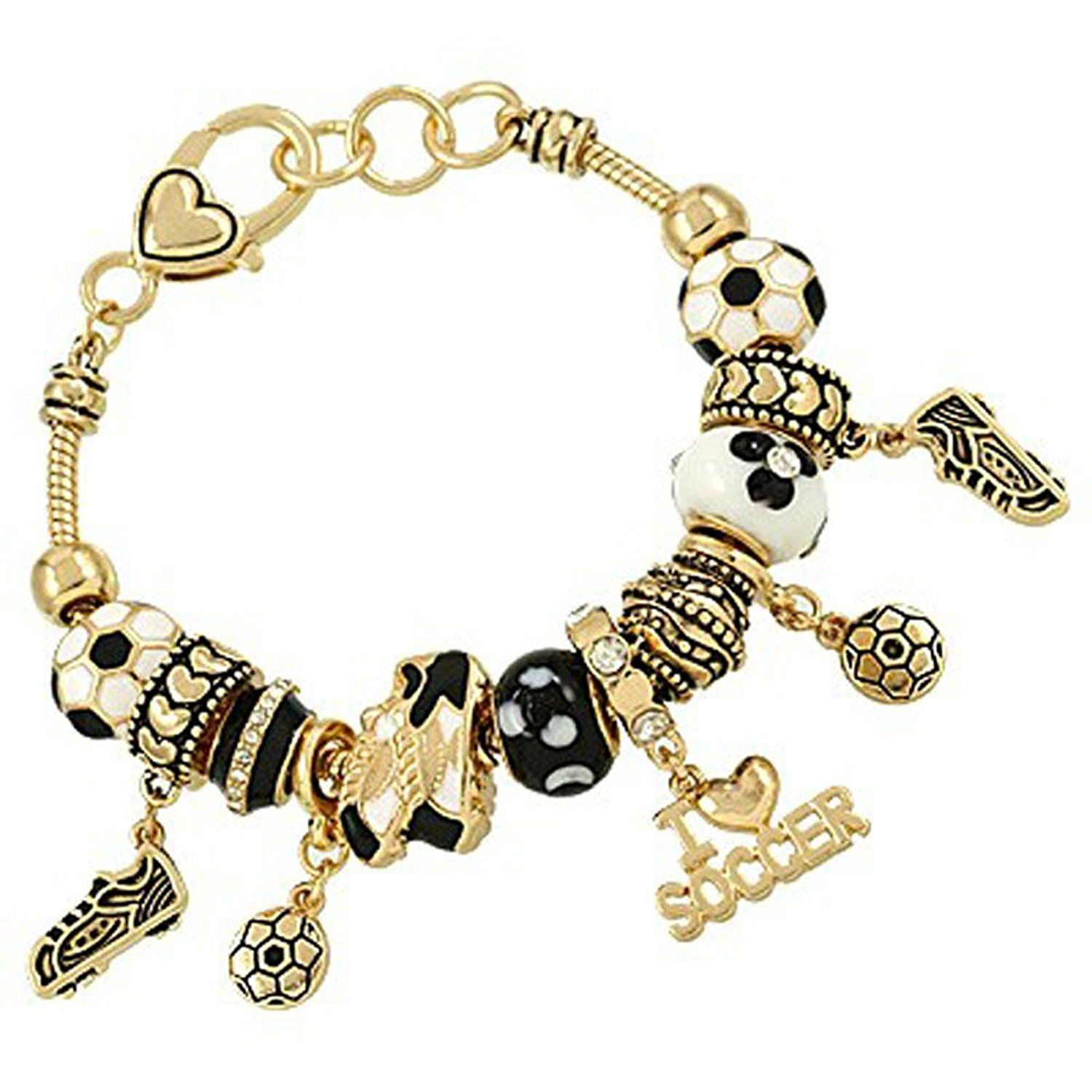 Ladies i love soccer ball shoes cleats black white murano glass