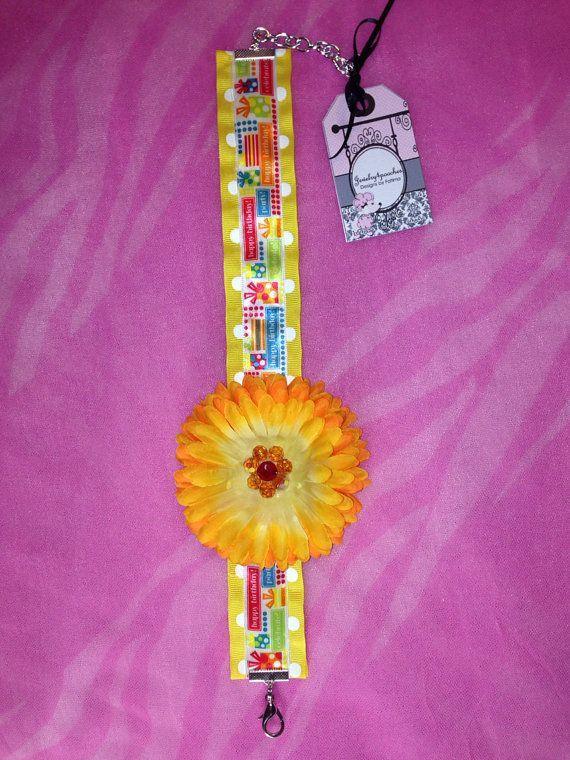 Happy birthday Yellow flower dog necklace on Etsy, $18.00
