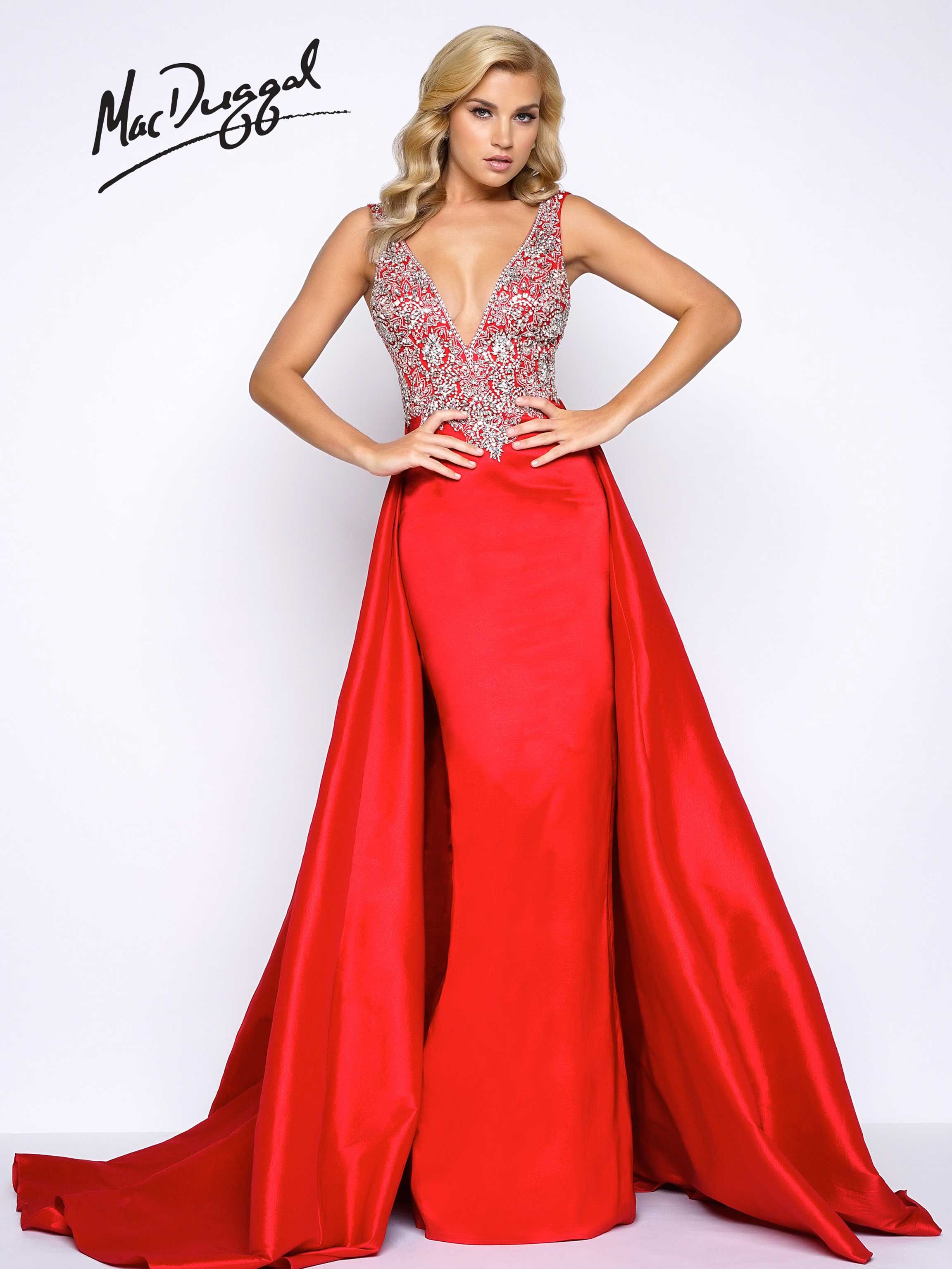 Sleeveless, deep V-neck, jewel encrusted bodice, satin column prom dress  with overskirt and exaggerated train. This red carpet ready prom dress is  available ...