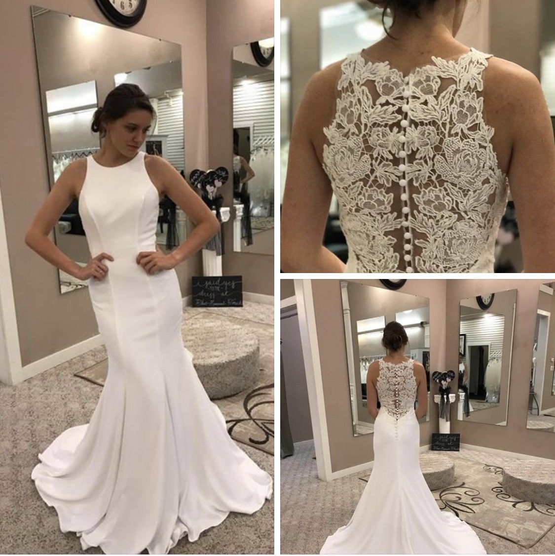 Still Admiring Allure Romance Style 3063 A Clean Modern Silhouette Such As This Crepe She Romance Wedding Dress Wedding Dresses Lace Wedding Dresses Unique