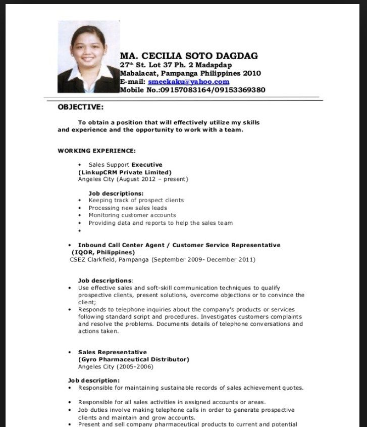 Resume Sample For Fresh Graduate Philippines Resumes Design Application Letter
