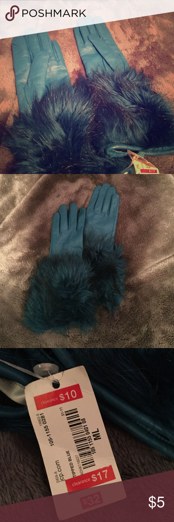 Tipped Blue Faux Fur Leather Gloves Teal colored gloves that go up about mid-forearm's length. A good gift for a mother or grandmother. Never been used! Feel free to make offers. jcpenney Accessories Gloves & Mittens