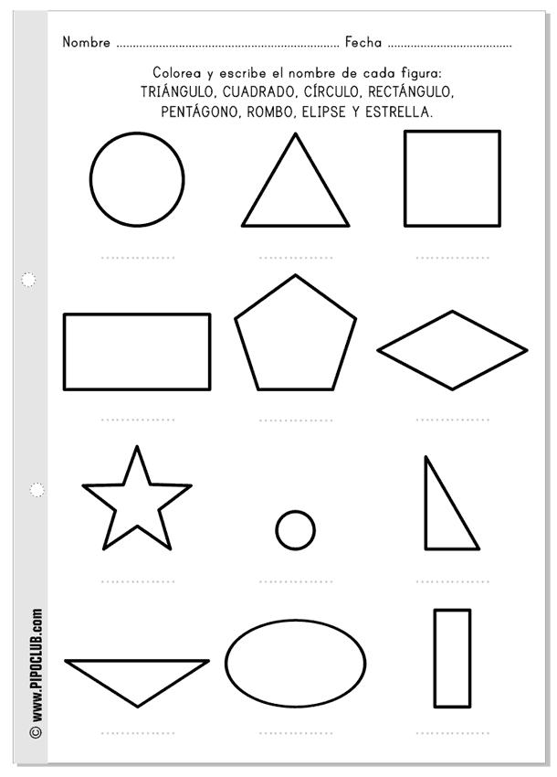 Las formas  ficha gratis para colorear y escribir sus nombres