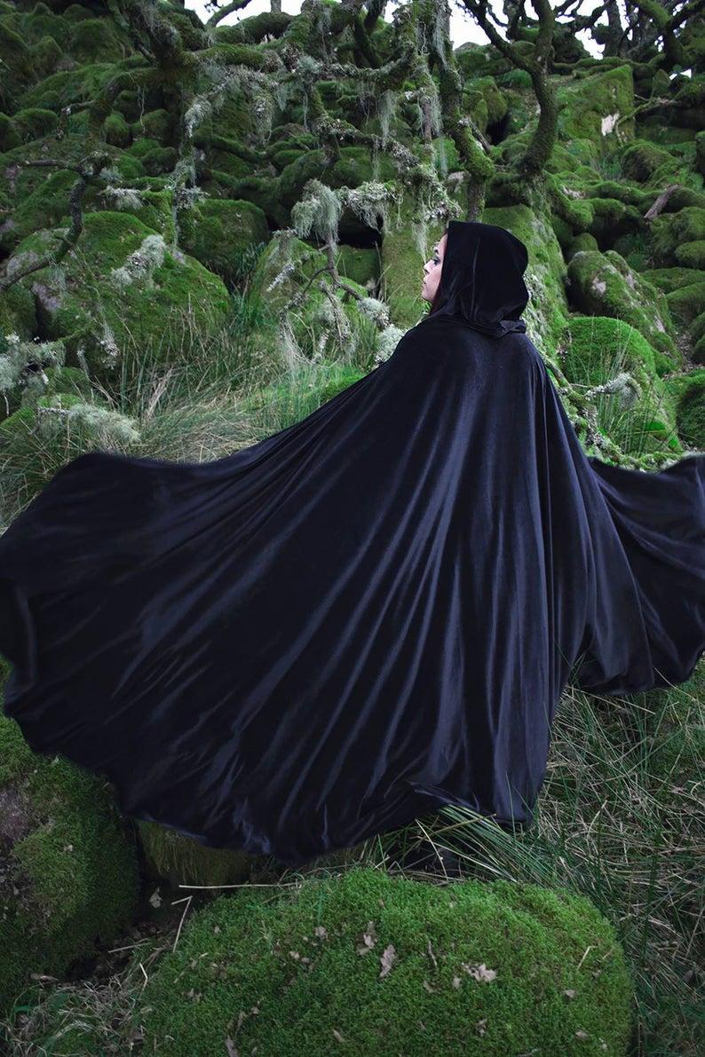 Black Cape Stretch Velvet Costume Cape Fairytale Fantasy Cloak Druid Witch Wicca Medieval Cloak Black Cape Stretch Velvet