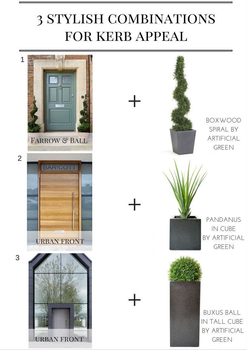 3 Stylish Home Exterior Combinations For Curb Appeal. Exterior Styling With  Stunning Front Door Styles · Artificial Outdoor PlantsArtificial ...