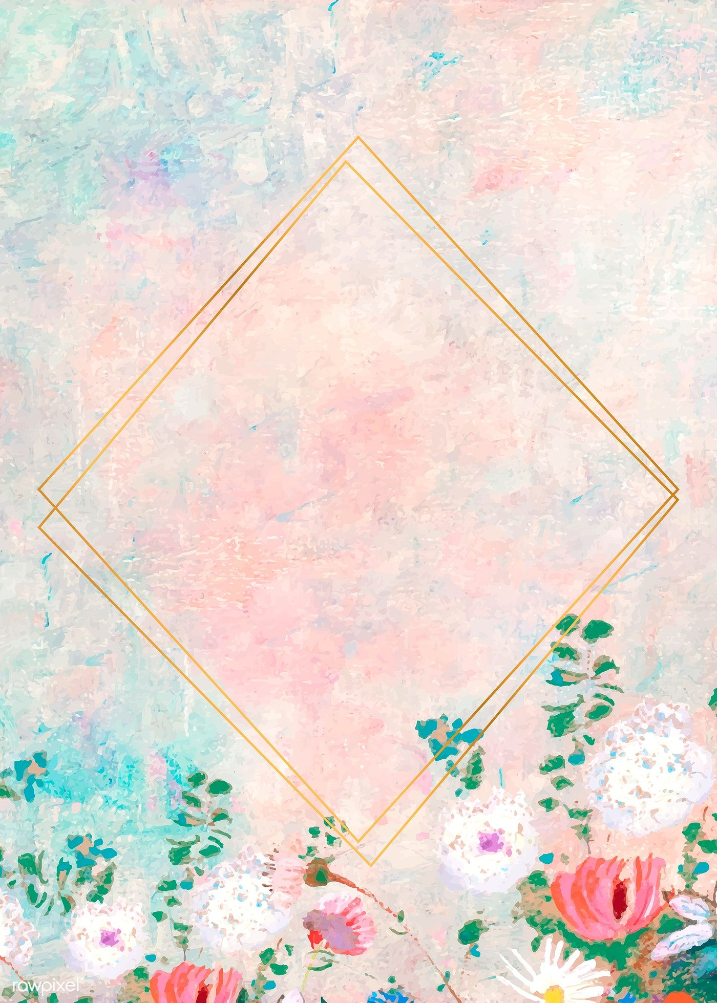 Download Premium Vector Of Gold Rhombus Frame On Pastel Background