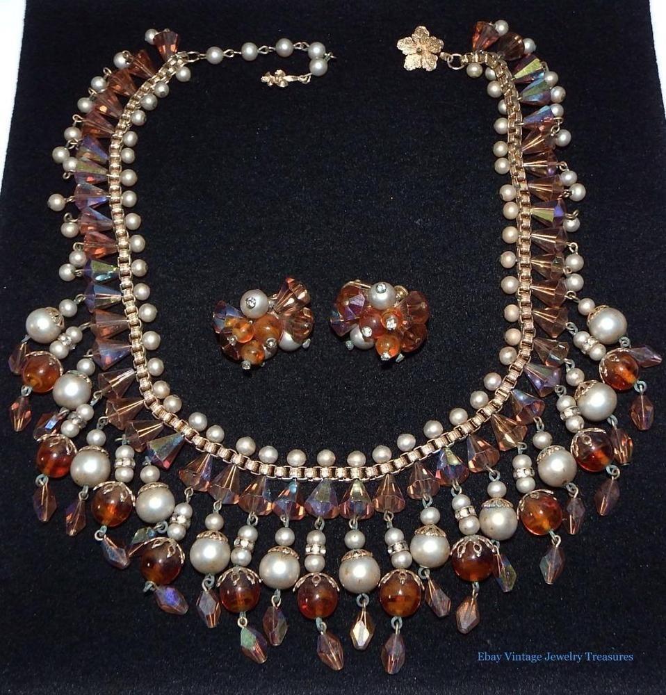 Vintage Vendome Aurora Borealis Crystal Pearl Bib Necklace Earrings Set #vendome