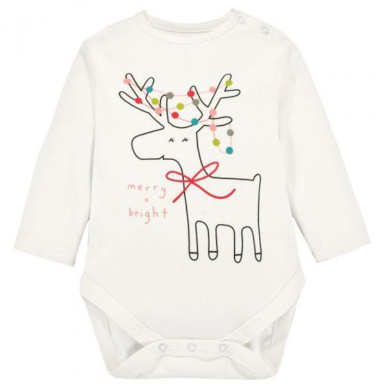 Cute Unisex Baby Cartoon Elk Onesies Long Sleeve White