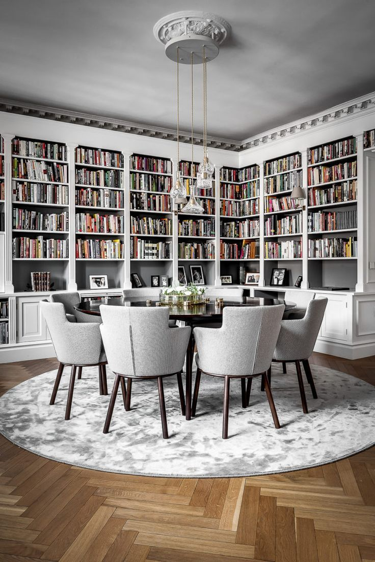Another Example Of Shelves Painted One Way And Back Boards Painted A Different Color Beautiful Dining Rooms Dining Room Cozy Home Library Design Dining room librariesbeautiful and