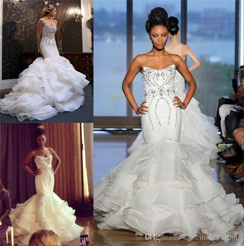 Cheap Plus Size Wedding Dress 2017 Beaded Strapless Bodice: Vintage Mermaid Wedding Dresses 2016 New Luxury Strapless