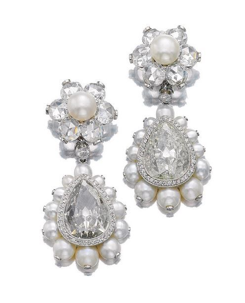 Lot 502 - PAIR OF NATURAL PEARL AND DIAMOND PENDENT EARRINGS