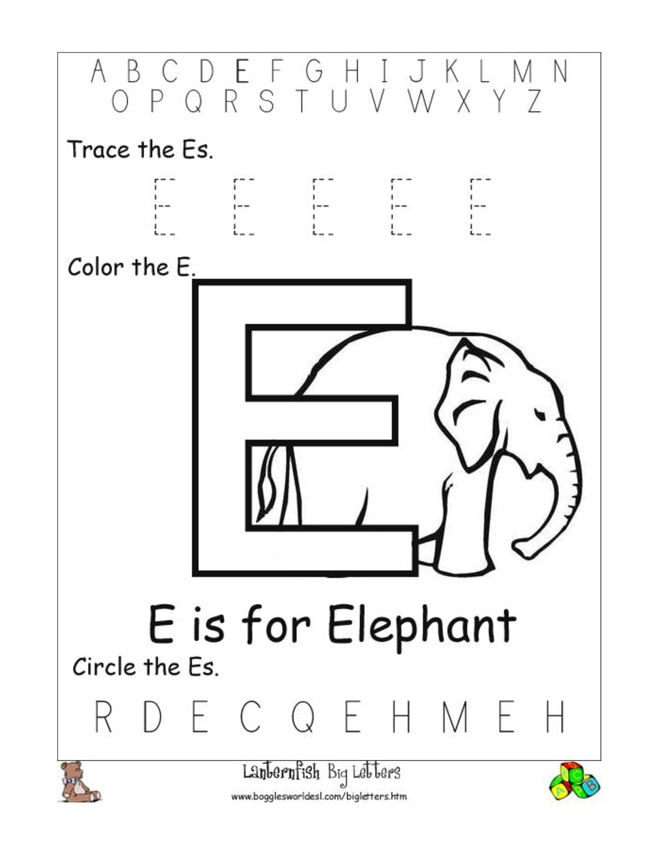 Free Printable Alphabet Letter Worksheets Elwyn 1617