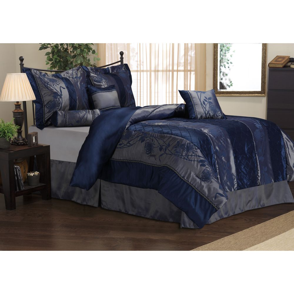 Overstock Bedroom Furniture Sets Rosemonde 7 Piece Navy Blue Comforter Set Blue Comforter Sets