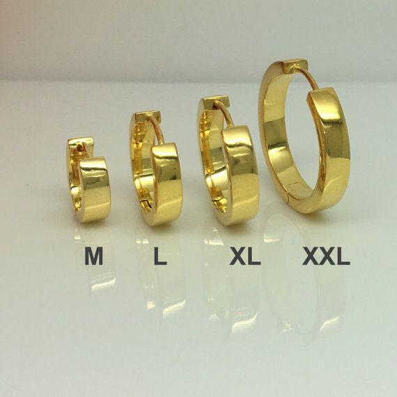 Gold hoop earrings solar yellow gold hoops men s earrings gold