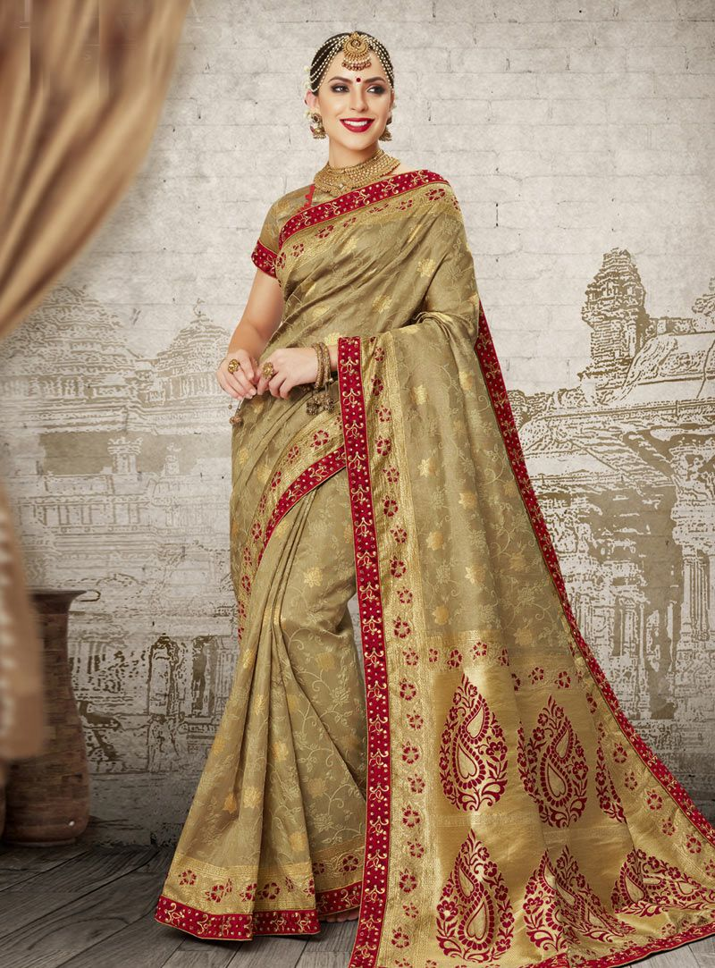 fcdc346548 Buy Golden Silk Festival Wear Saree 149084 with blouse online at lowest  price from vast collection of sarees at Indianclothstore.com.