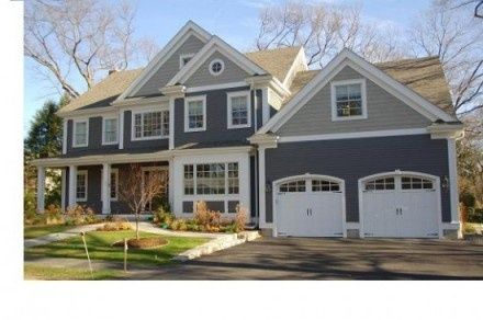 Slate Blue With Gray Top White Trim I Like This Combo Home Gray House Exterior House Exterior Blue House Paint Exterior