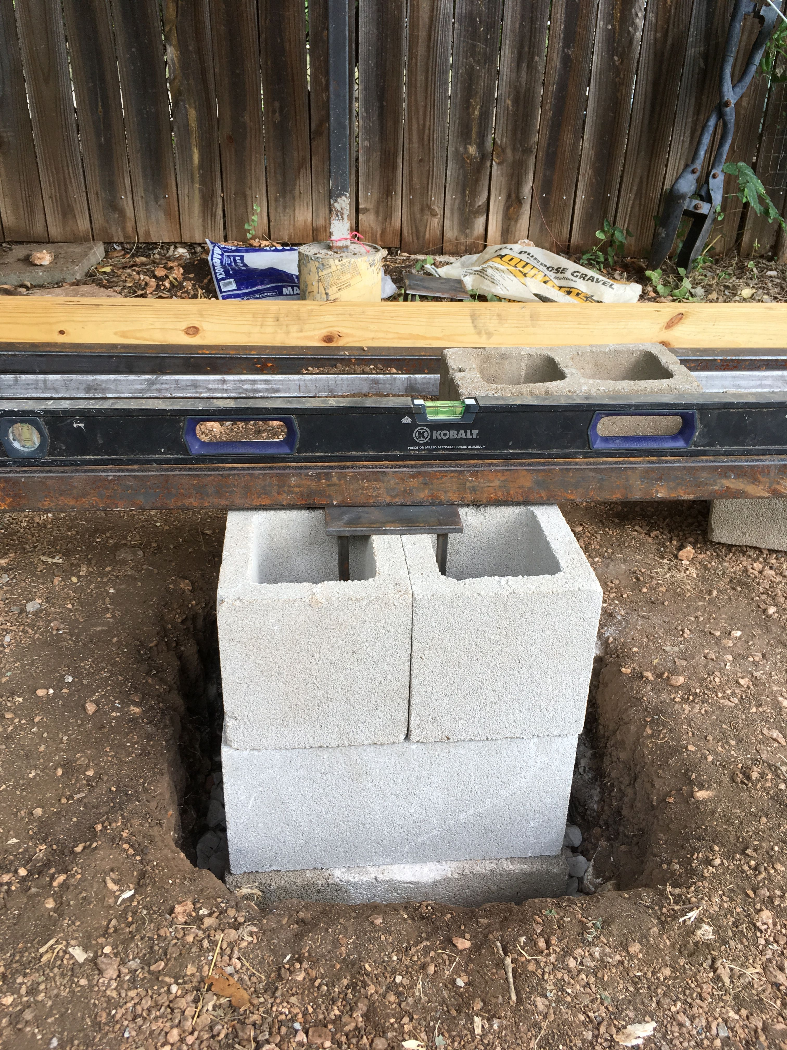Concrete pier mockup for floor support for gear shed
