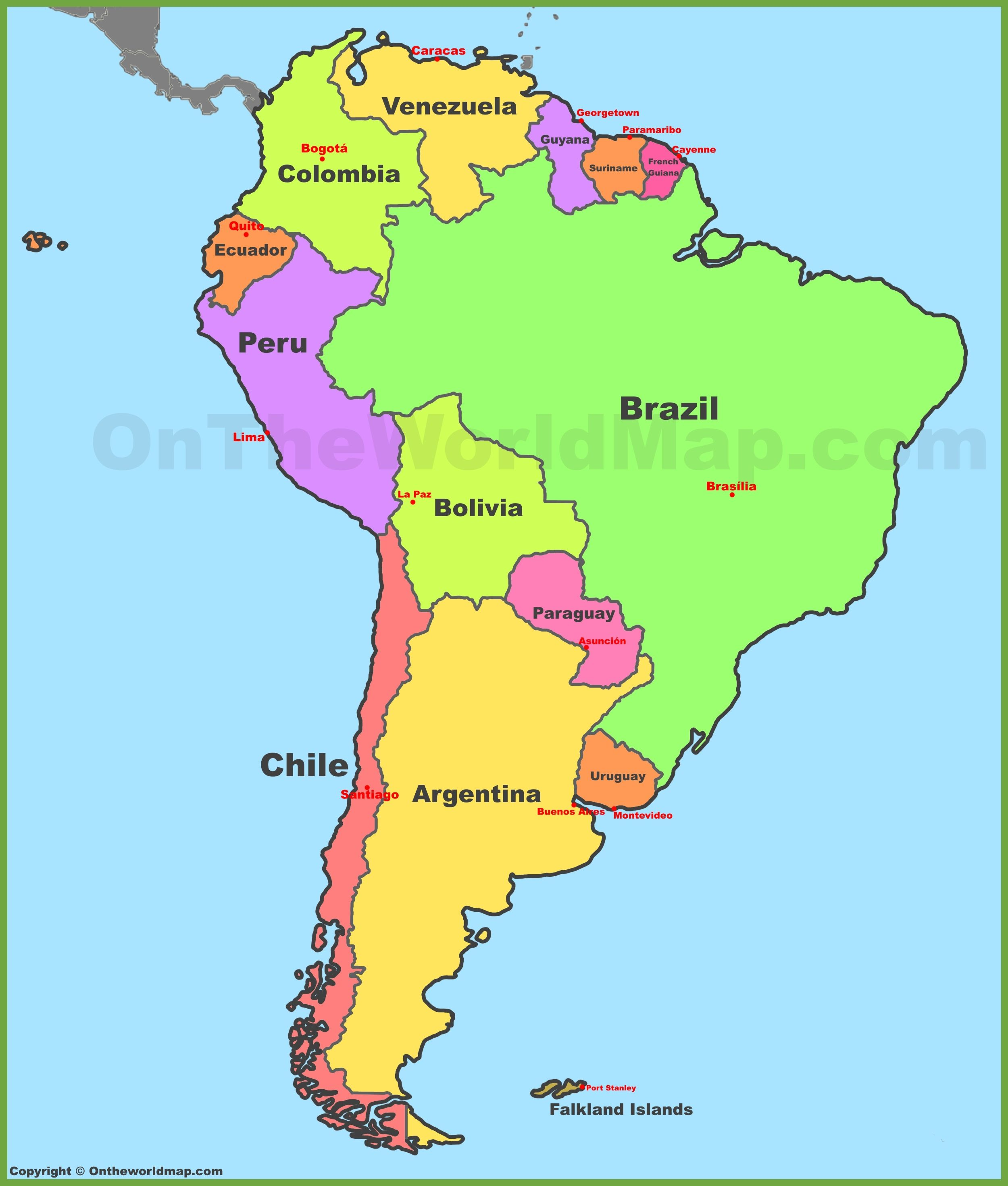 South America Country Map Map of South America with countries and capitals | color