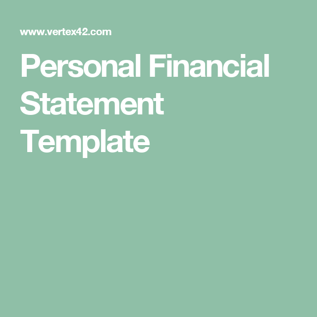 Personal Financial Statement Template   personal Finacial statement ...
