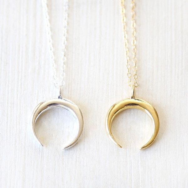 Upside Down Crescent Moon Horn Necklace Sterling Silver Gold