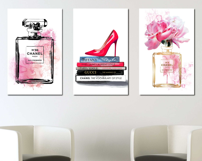 Fashion Posters Perfume Books Shoes Watercolor Fashion
